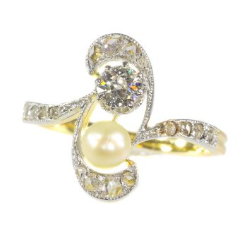 Original Art Nouveau diamond and pearl engagement ring by Unknown Artist