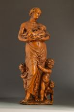 A fine carved boxwood figure of 'caritas'