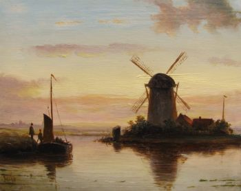 Dutch landscape at sunset by Unknown Artist