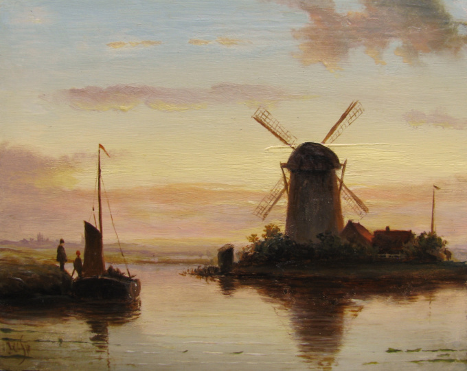 Dutch landscape at sunset by Jacob Jan Coenraad Spohler