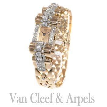 VCA Van Cleef and Arpels Vintage Retro gold diamond pink gold ladies watch by Van Cleef & Arpels