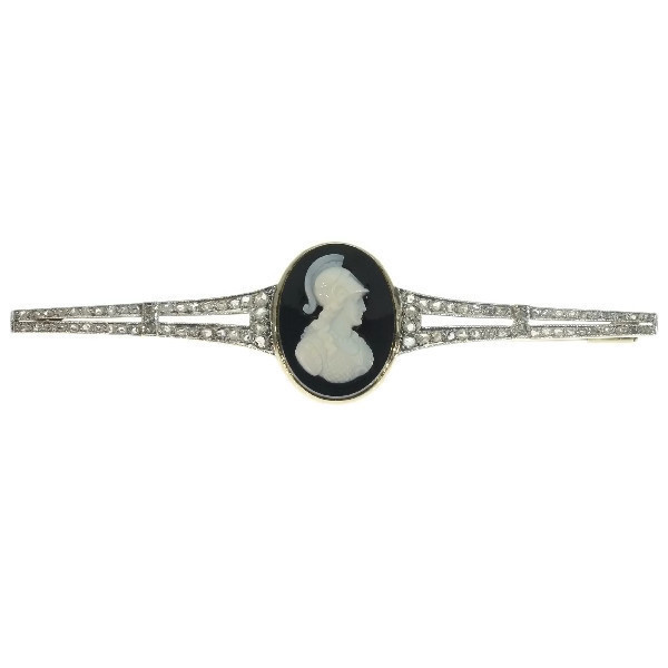 Vintage diamond bar brooch with Athena cameo hard stone by Unknown Artist