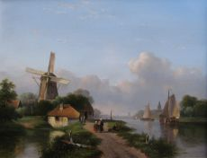 Summer at a Dutch river by Lodewijk Johannes Kleijn