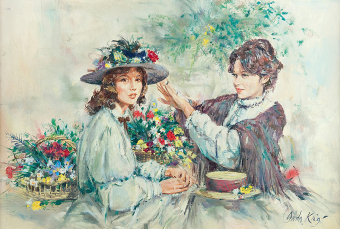 Two girls with flowers by Gordon King