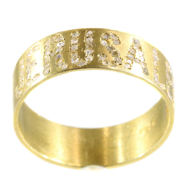 Antique Late Victorian gold band with the name Jerusalem written in diamonds by Unknown Artist
