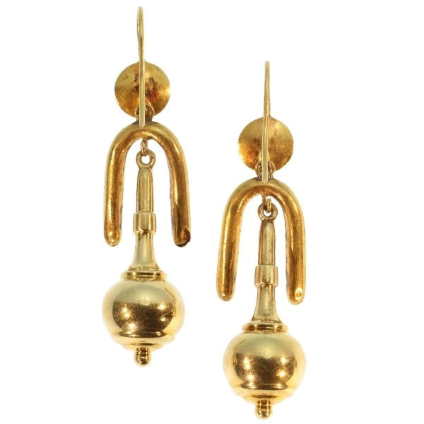 Victorian gold dangle earrings original box by Unknown