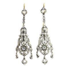 Antique silver Victorian long pendent ear chandeliers with strass stones by Unknown Artist