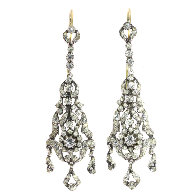 Antique silver Victorian long pendent ear chandeliers with strass stones by Unknown