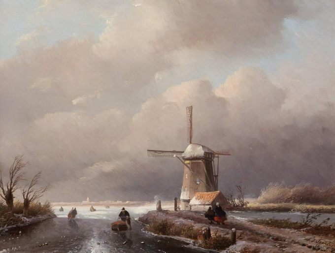 Winter landscape with windmill by Jan Jacob Spohler