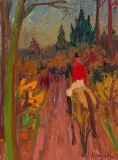 Cavalier dans un paysage by Hubert Malfait