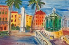 La place d'Hyeres, L'Obelisque et le kiosque a musique by Raoul Dufy