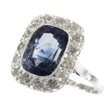 Original vintage Art Deco sapphire and diamond engagement ring by Unknown Artist