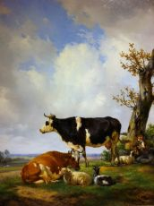 """""""Glowing Dutch landscape with shepherd, cows and sheep"""""""