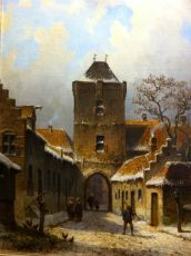 """""""View of the Hattem citygate in winter"""""""