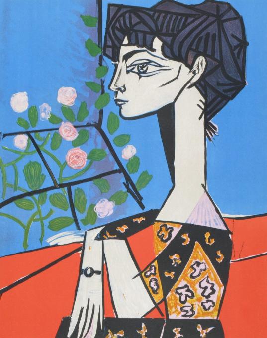 Jacqueline avec Fleurs by Pablo Picasso