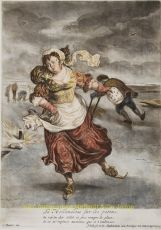 LA HOLLANDOISE SUR LES PATINS en  LE HOLLANDOIS SUR LA GLACE  by Dusart, Cornelis