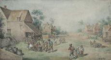 Village scene with drinking farmers by Egbert Lievensz. van der Poel