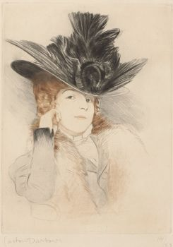 Lady with big hat by Gaston Darbour