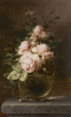 Roses in a glass vase by Margaretha Roosenboom