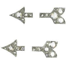 Art Deco platinum arrows set with rose cut diamonds