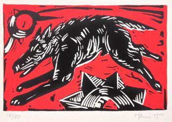 Black dog - Red by Charlie Hewitt