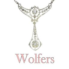 Belle Epoque multi use diamond necklace and pendant made by Wolfers for noble family by Unknown Artist