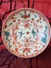 Chinese polychrome porcelain Swatow Guangzhou charger, ca.1600