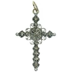 Dutch antique silver and gold cross with rose cut diamonds by Unknown