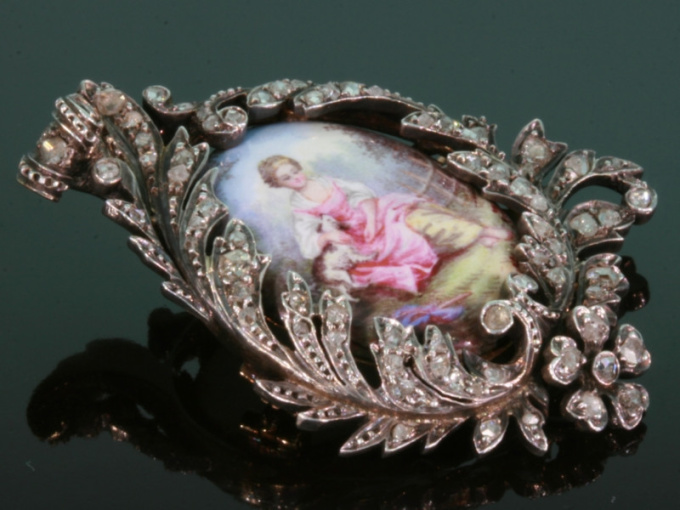 Antique painted miniature enameled pin diamond by Unknown Artist