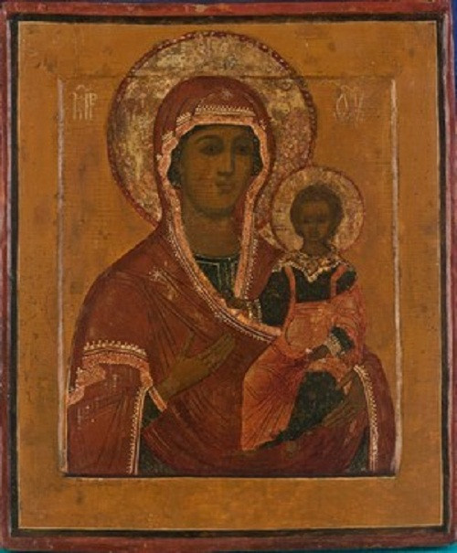 Russian Wooden Icon – The Mother of God of Smolensk by Unknown Artist