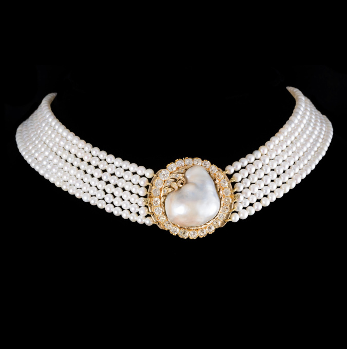 Large natural pearl brooch-clasp by Unknown Artist