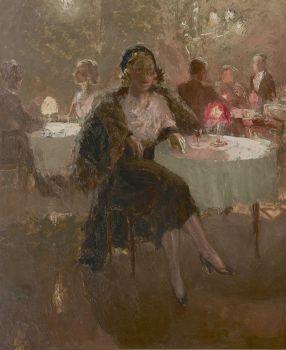 The actress Clara Vischer-Blaaser in a tea room by Han van Meegeren