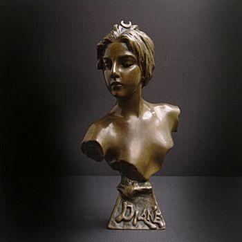 At deco bust of Diane by Emmanuel Villanis
