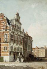 City hall on the Groenmarkt in The Hague by Johannes Christiaan Karel Klinkenberg