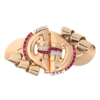 Strong design three tone gold Retro double clip with diamonds and rubies by Unknown Artist