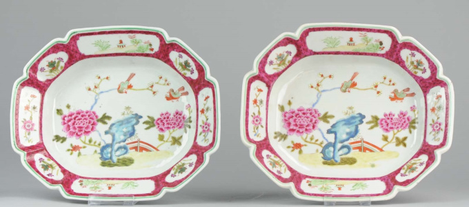 Unusual pair of large Famille Rose serving dishes, (1711-1796) by Unknown Artist