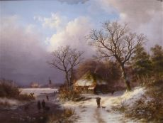 Winter Landscape, Farmhouse and Walking Figure with a Dog by Johann B. Klombeck