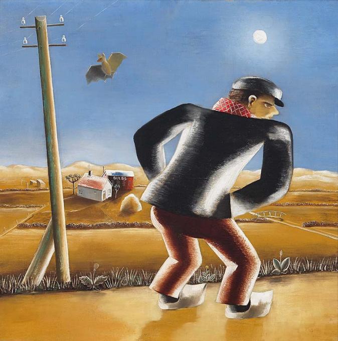 Boer in maanlicht by Tinus van Doorn