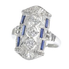 Platinum Art Deco diamond and sapphire engagement ring by Unknown
