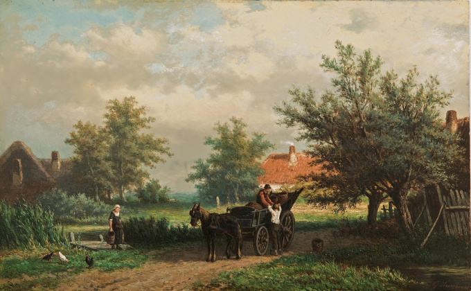 A summer landscape with a horsedrawn cart by Georgius Heerebaart