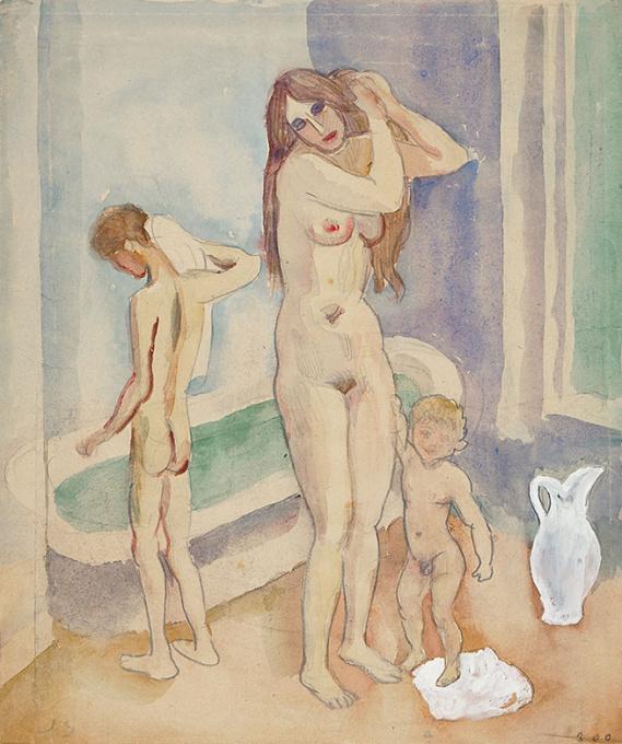 Mother with two children in bathroom by Jan Sluijters