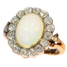 Antique Victorian opal and diamond ring multifunctional as necklace clasp by Unknown Artist