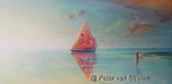 The Moth Original painting oil on canvas 60 x 120 cm y 2020 by Peter van Straten