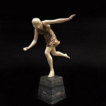 Ivory bronze sculpture art deco  by Pierre le Faguays