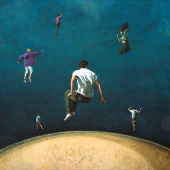 Celestial Creatures Mixed media incl oil on canvas 120 x 120 cm y 2021 by Eva Navarro