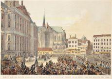 Komst van Z.M. Koning Willem III op den Dam, bij H.D. plegtigen intogt in de hoofdstad des rijks, 12 mei 1849 by Unknown Artist