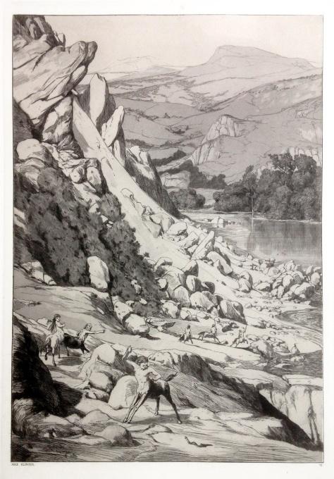 Bergsturz /Landslide by Max Klinger