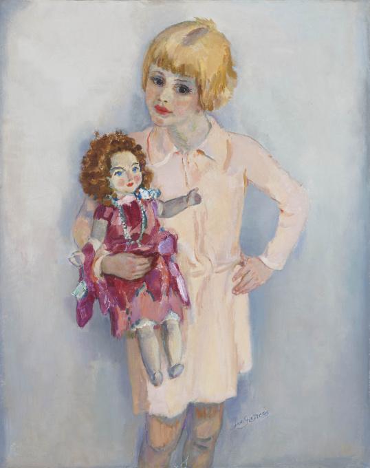 Meisjes portret met pop by Jan Sluijters