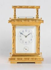 A French gilt 'Bamboo case' carriage clock, circa 1890 by L.F.