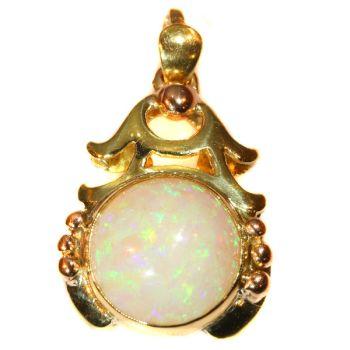 Vintage multi colour gold pendant with cabochon opal Style Japonais by Unknown Artist